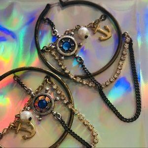 Hoop sea nautical mermaid anchor earrings Betsey
